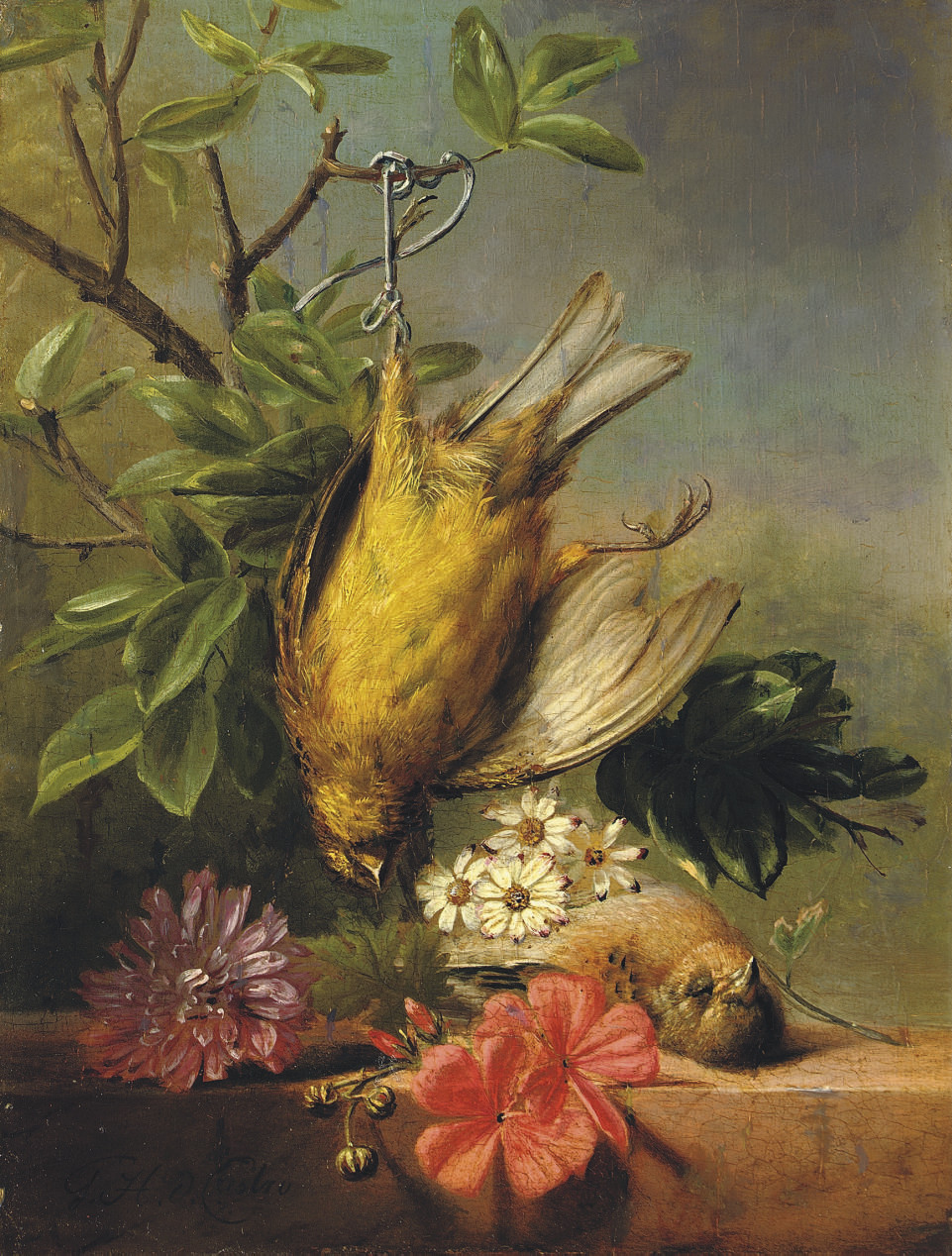 A still life with flowers and poultry