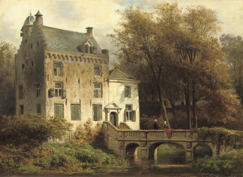 The castle Oudaen along the river Vecht, near Breukelen: on the bridge