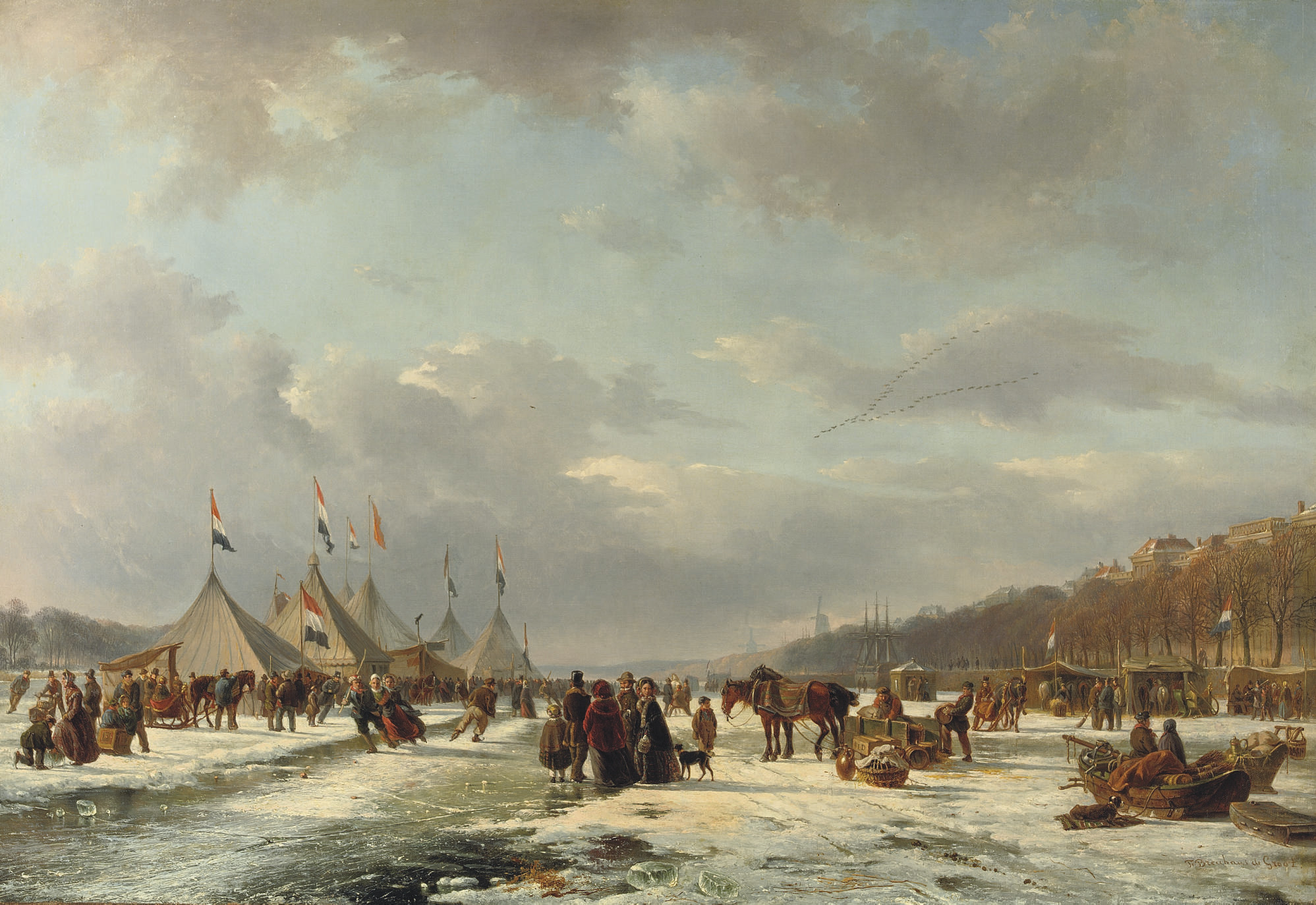Festivities on the ice: the Nieuwe Maas with the Boompjes, Bolwerk and harbour entrance of the Oudehaven, Rotterdam