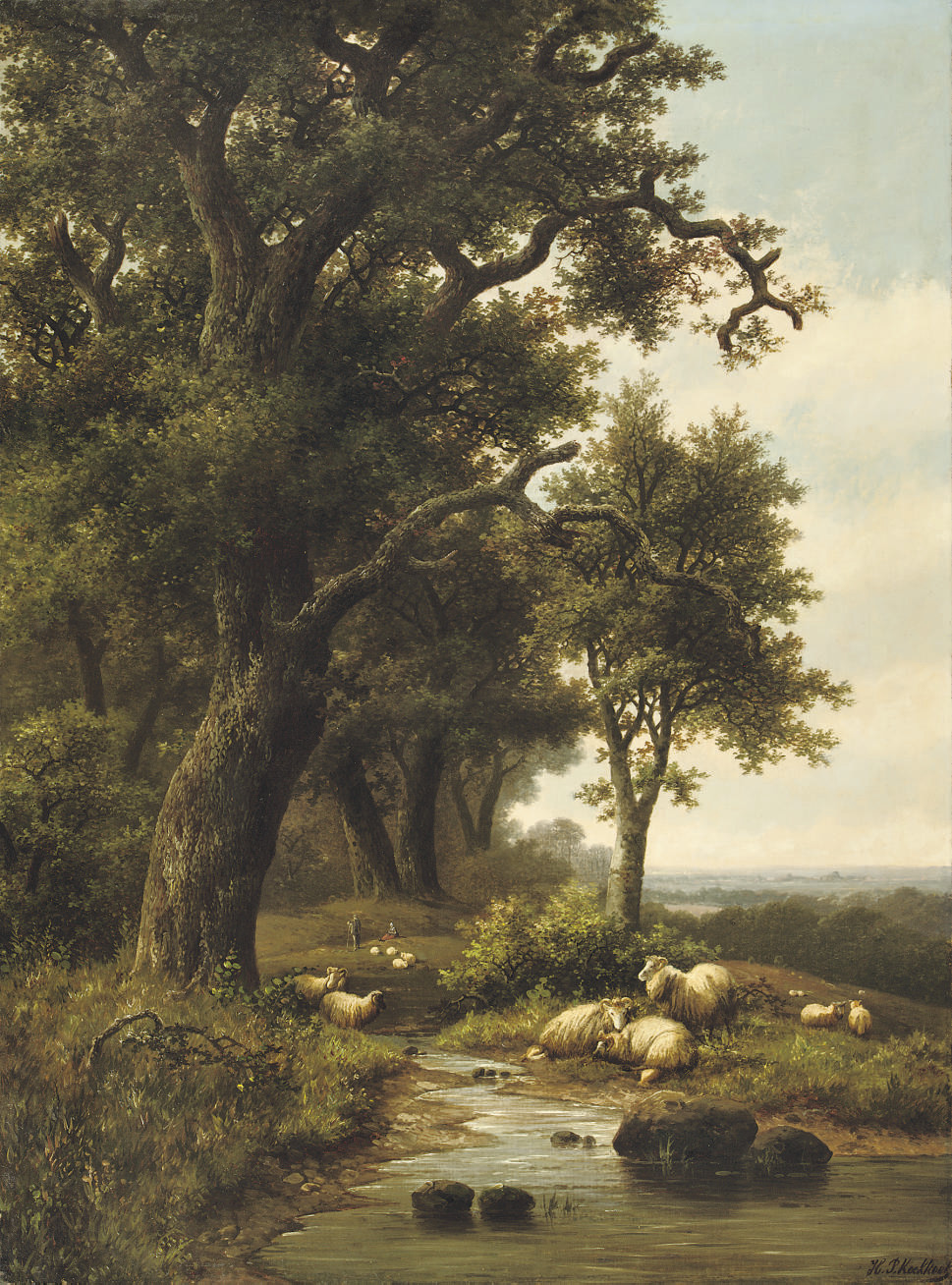 Sheep near a forest stream
