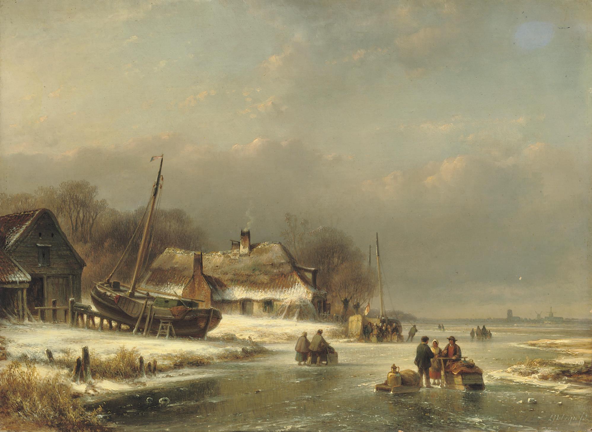 Figures on the ice near a wharf