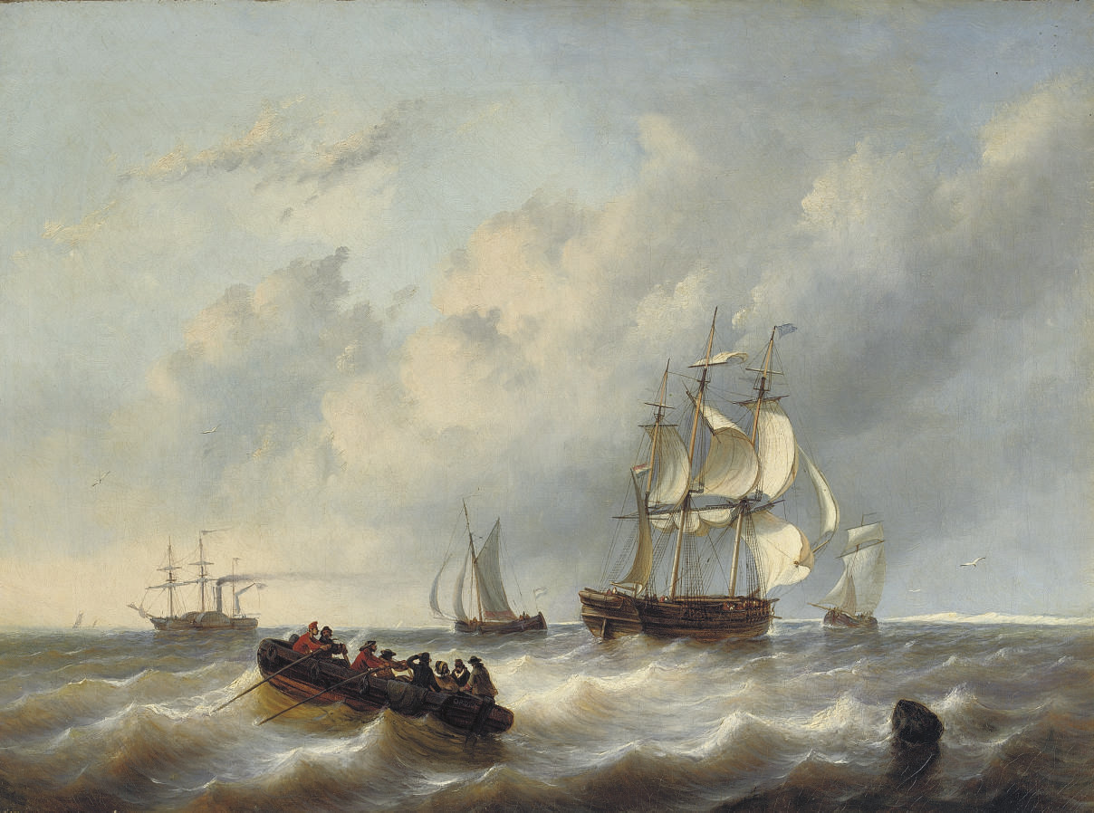 A three-master and a paddlesteamer on a choppy sea