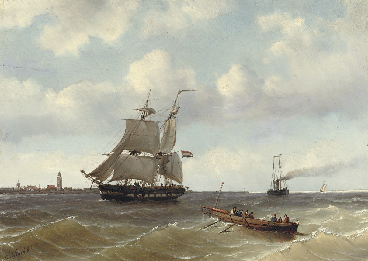A two-master and a steamer near a coast