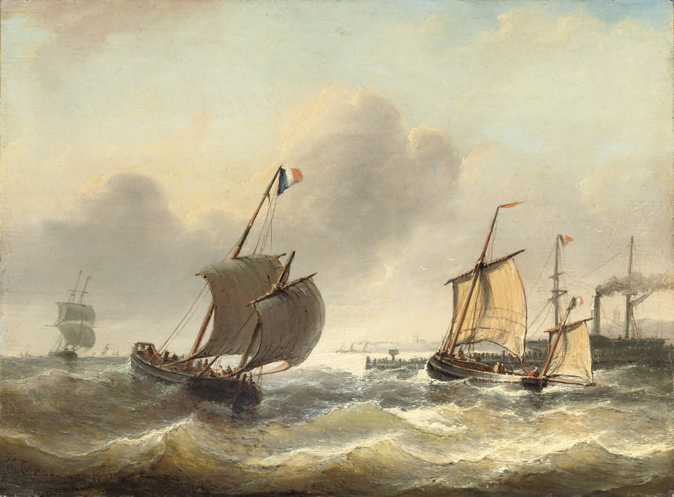 Full sail on choppy waters near a harbour entrance