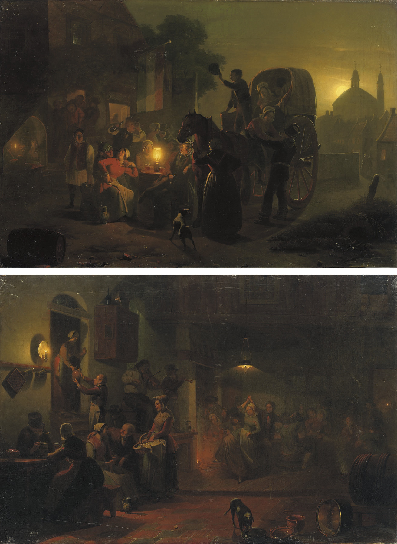 Dancing in the tavern; and Outside the tavern