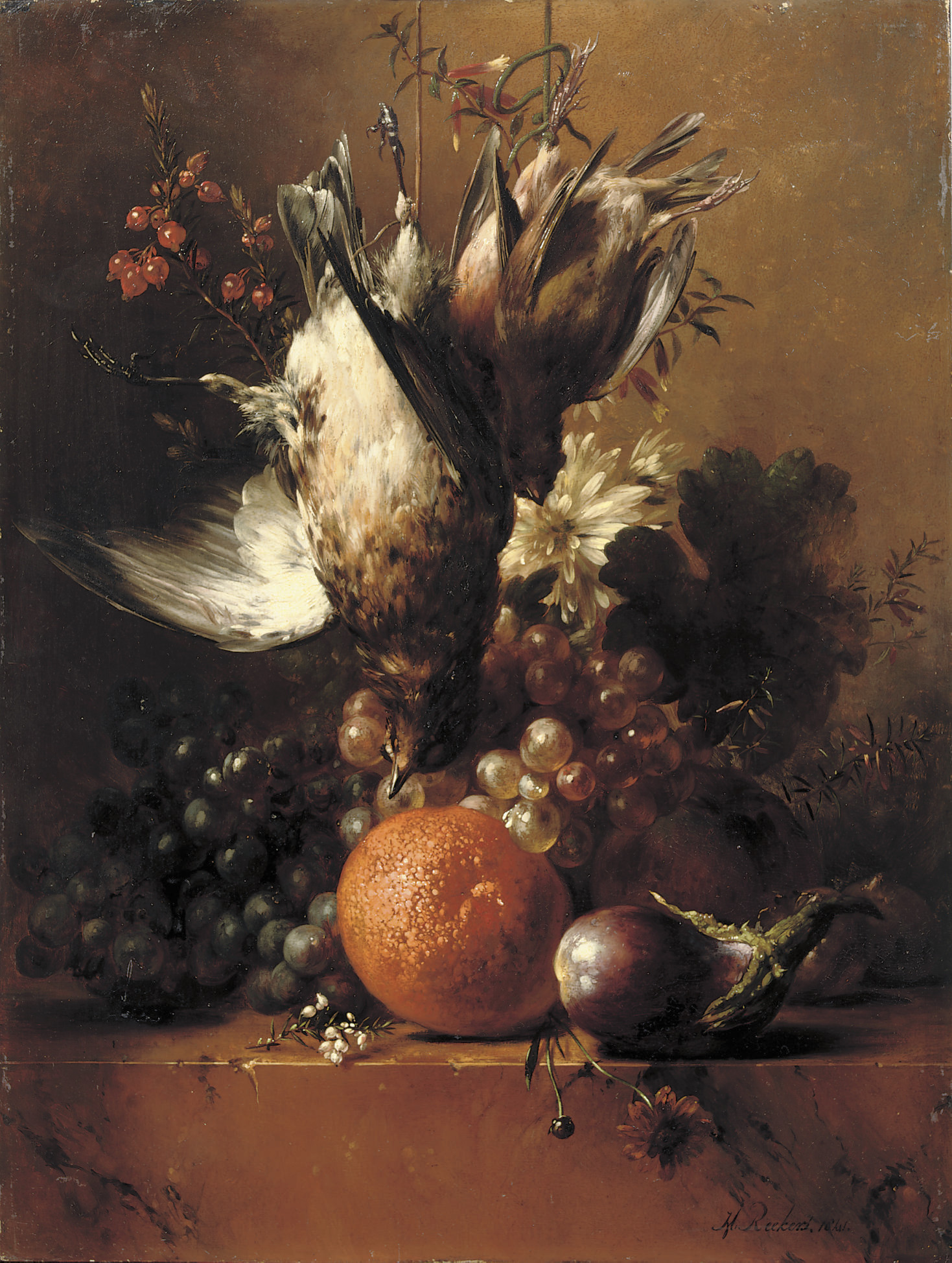 Flowers, fruit and poultry on a ledge