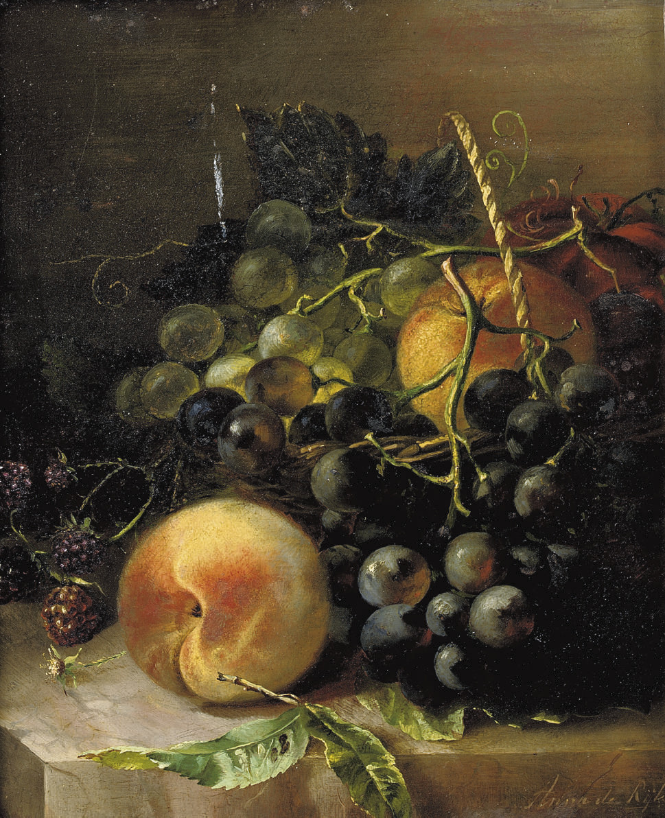 Still life with grapes, peaches and raspberries