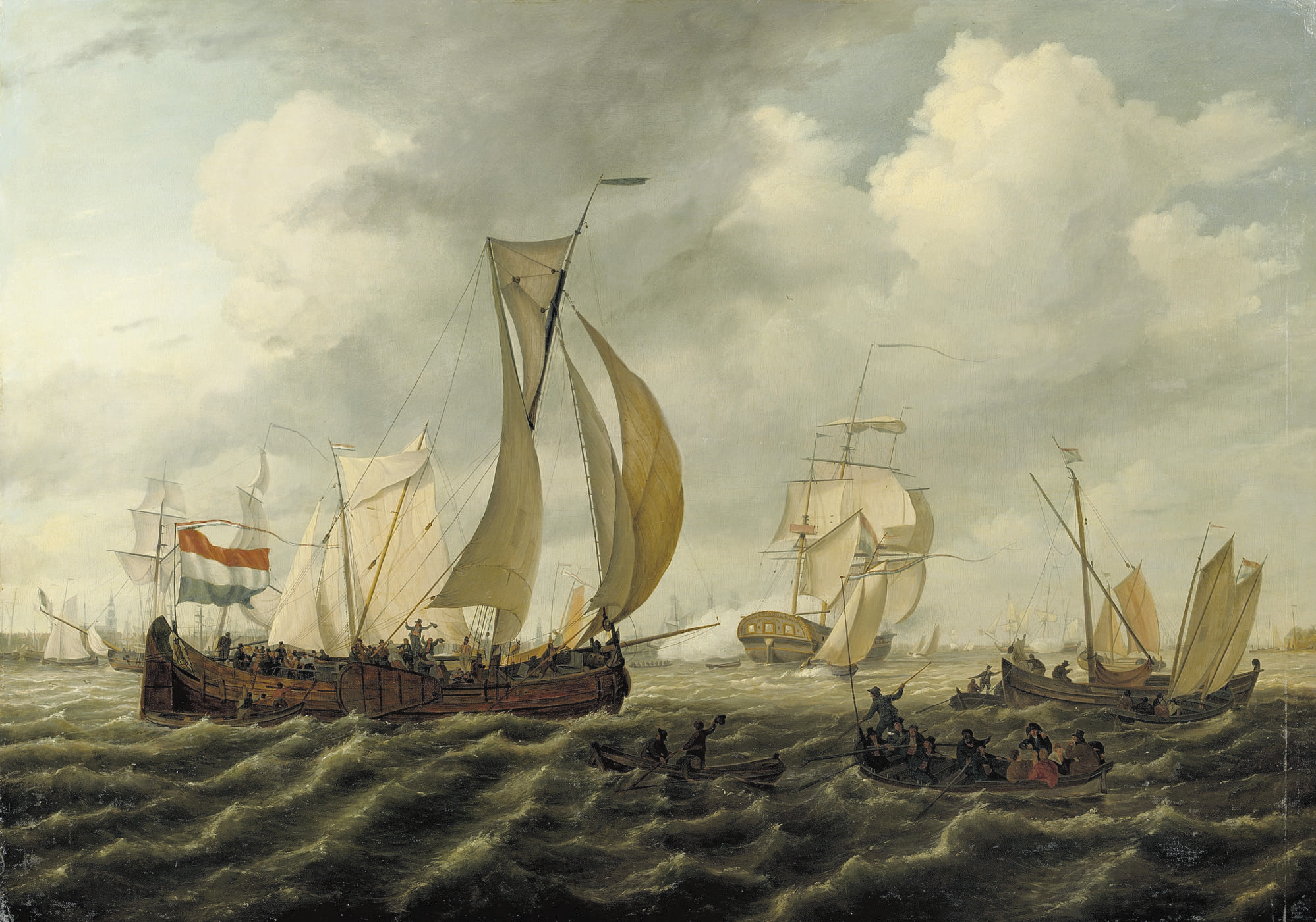 Gesigt op Amsterdam: sailing-freights on the IJ, with the Westertoren in the distance, Amsterdam