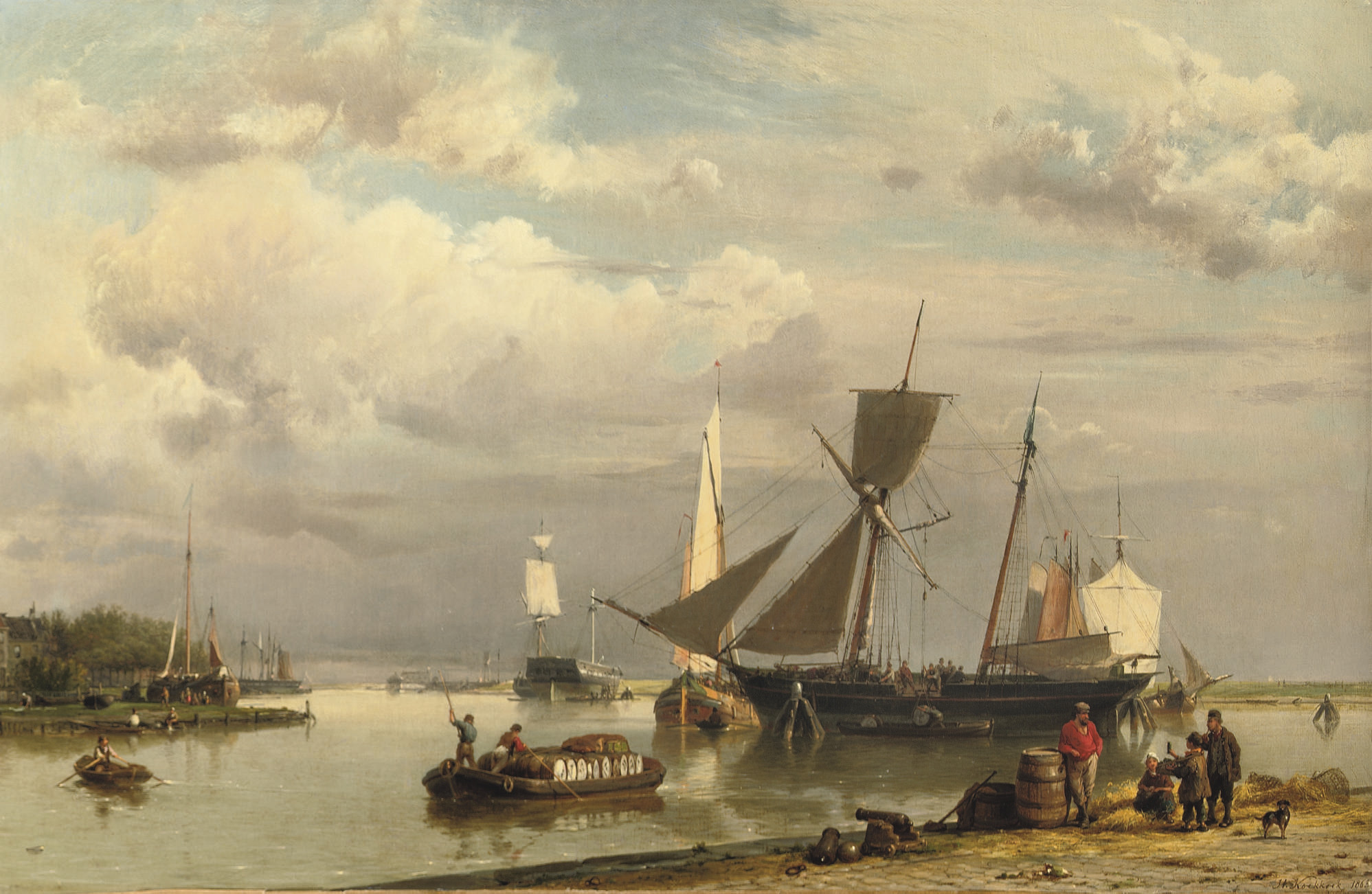 Near Groningen: loading the two-master on a calm day