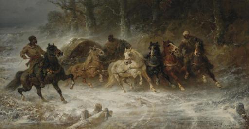 Wallachian horsemen in a winter landscape
