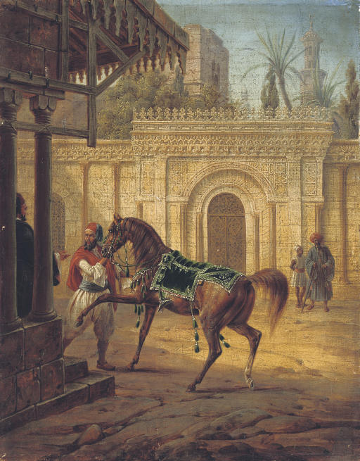An Arabian mare and a groom in a courtyard