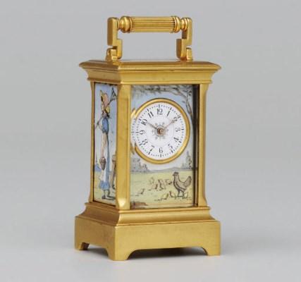 A Swiss sub-miniature gilt-bra