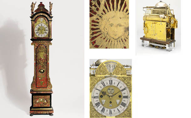 A Dutch ormolu-mounted, ebonised and foliate cut brass, pewter and mother-of-pearl inlaid red tortoiseshell eight day longcase clock with astronomical dial and music work
