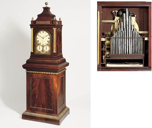 A Regency giant gilt-brass mounted mahogany quarter striking eight day turn-table musical organ clock