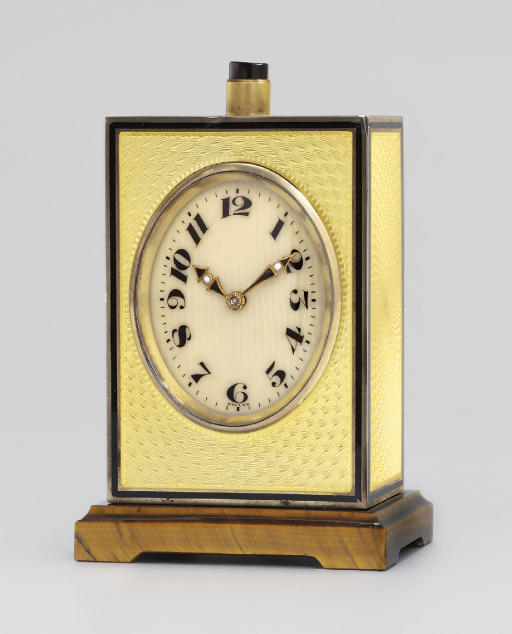 A Swiss silver-gilt, enamel and agate minute repeating eight day travel timepiece