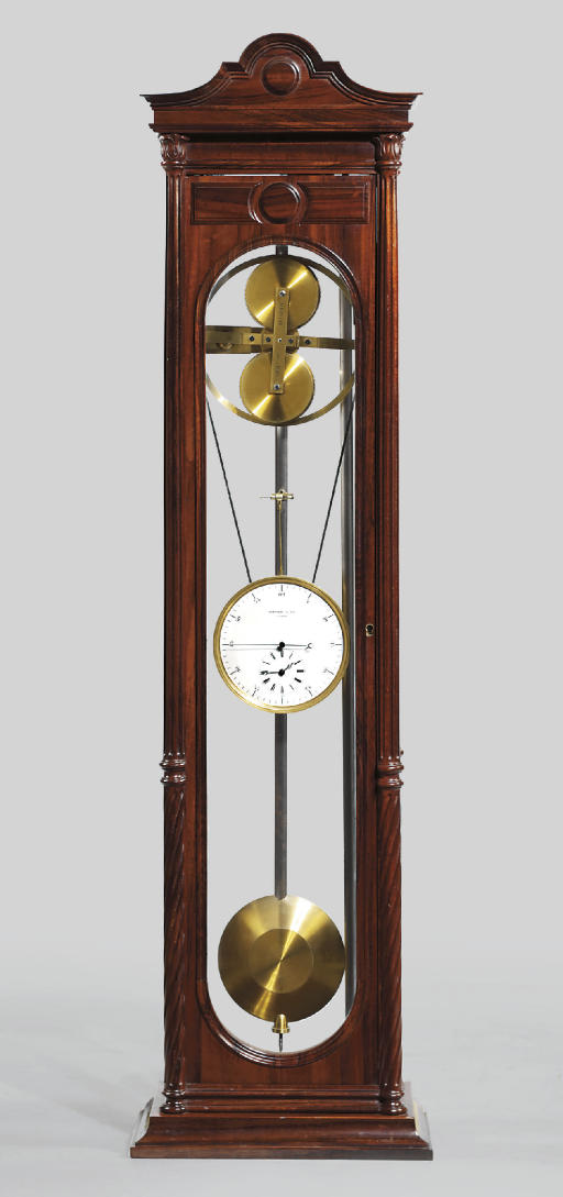 An unusual Louis Philippe rosewood long duration wall regulator with endless screw gearing