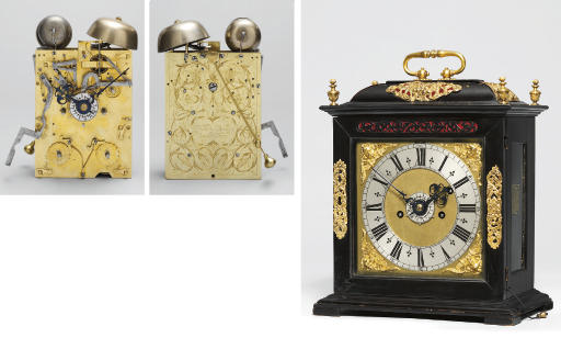 A Charles II ebony and gilt-brass mounted striking eight day table clock with pull quarter repeat and alarm