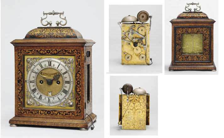 A rare Queen Anne silver-mounted walnut, fruitwood and ebonised marquetry striking eight day table clock with quarter repeat