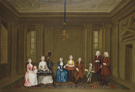 Group portrait of a family, possibly members of the Vernon family, with a servant, in an elegant interior
