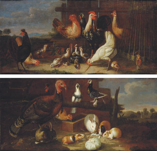 Cockerels, hens and quails in a farmyard; and Rabbits, guinea pigs, a hen, a cockerel, a turkey and a pair of doves in a farmyard