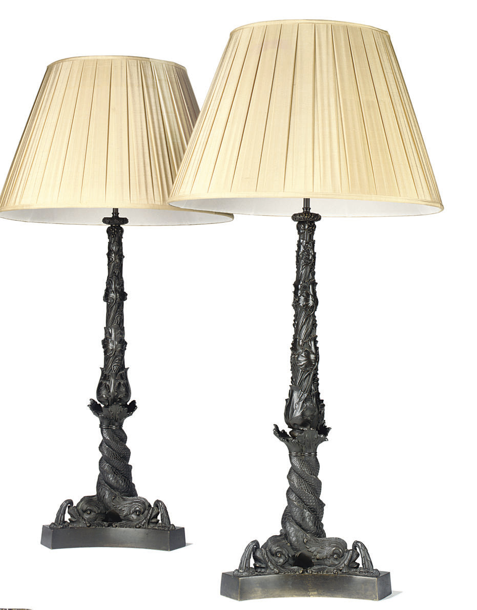 A PAIR OF WILLIAM IV BRONZE OIL-LAMP BASES