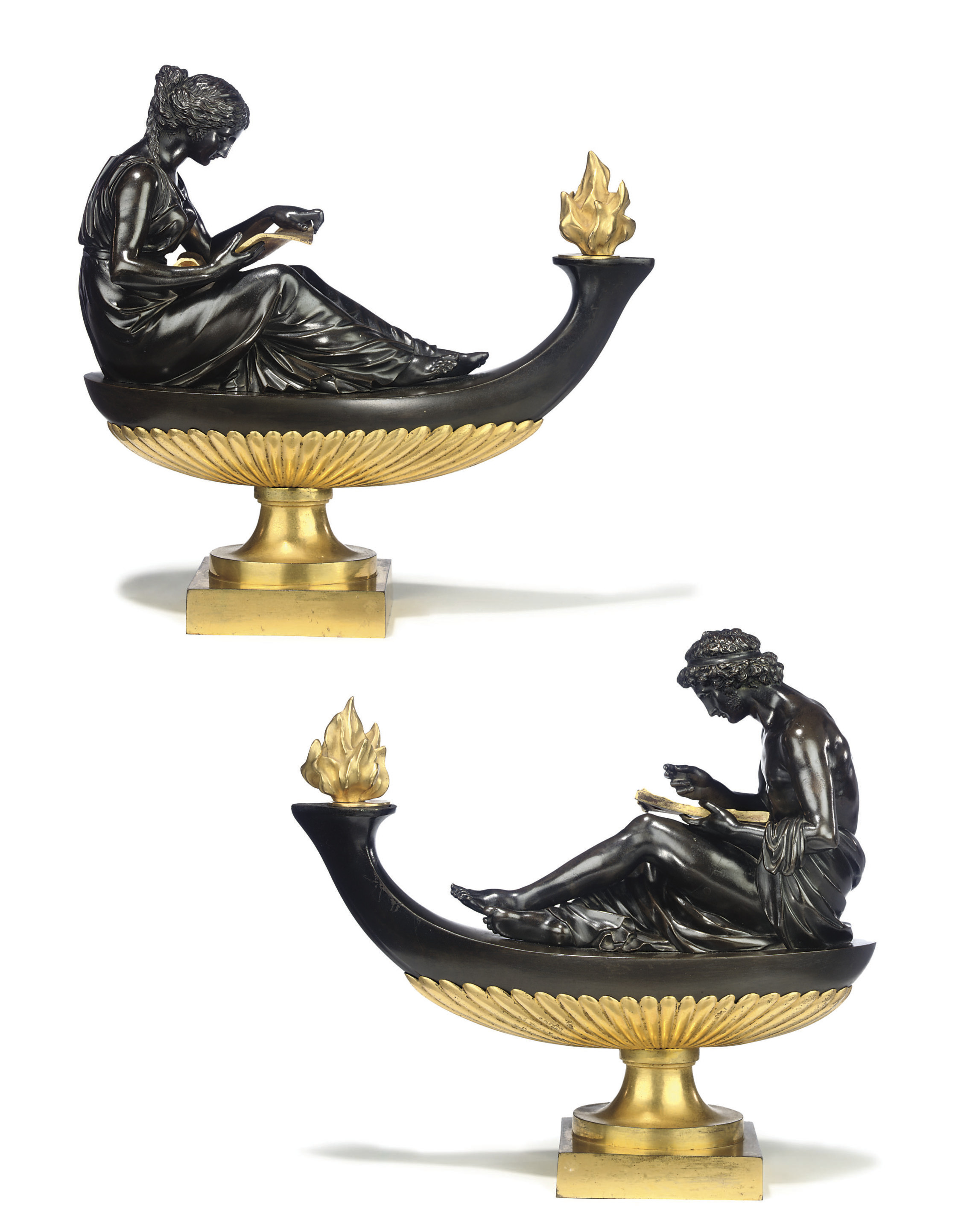 A PAIR OF LOUIS XVI BRONZE AND ORMOLU OIL-LAMPS