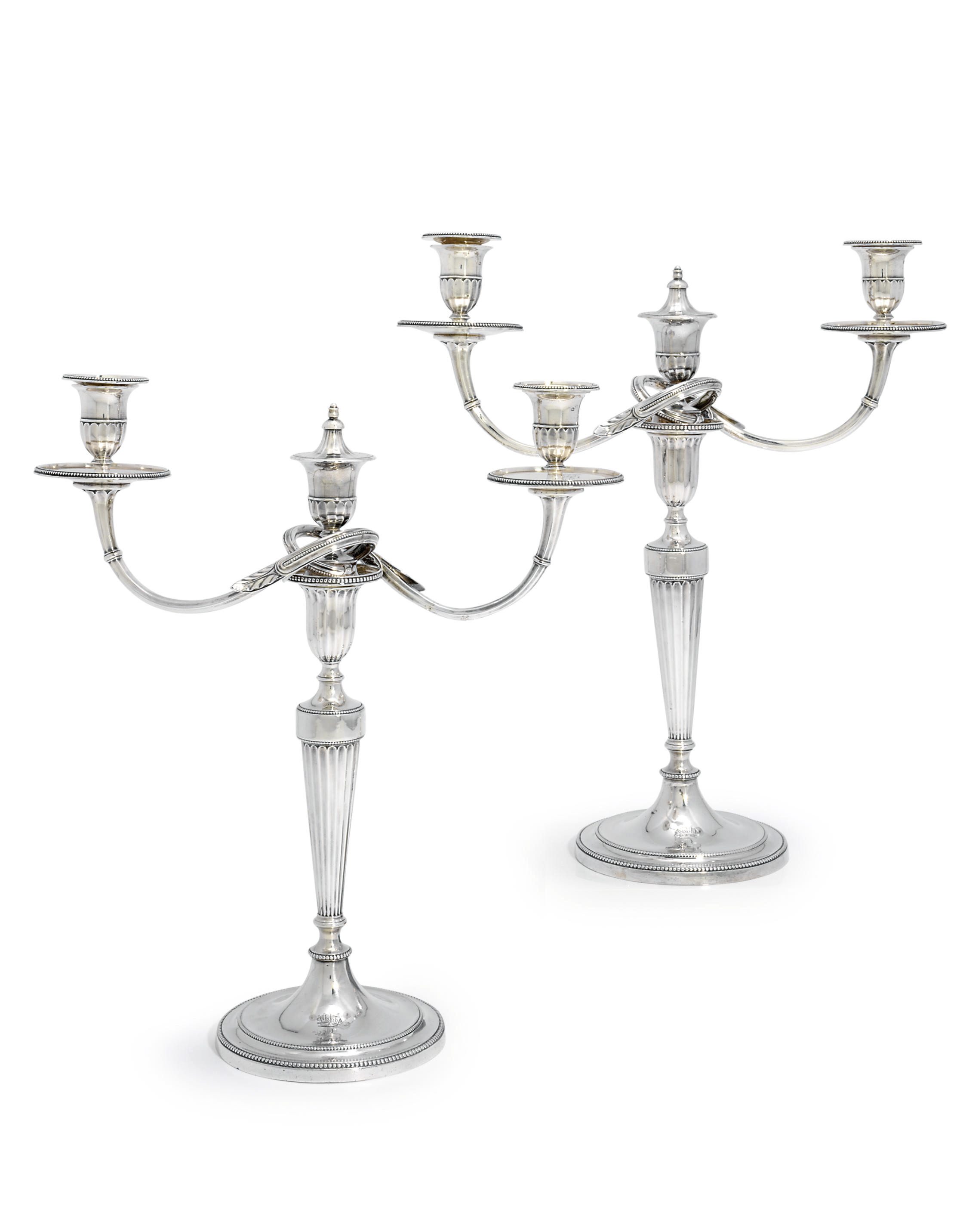 A PAIR OF GEORGE III SILVER TWO-LIGHT CANDELABRA