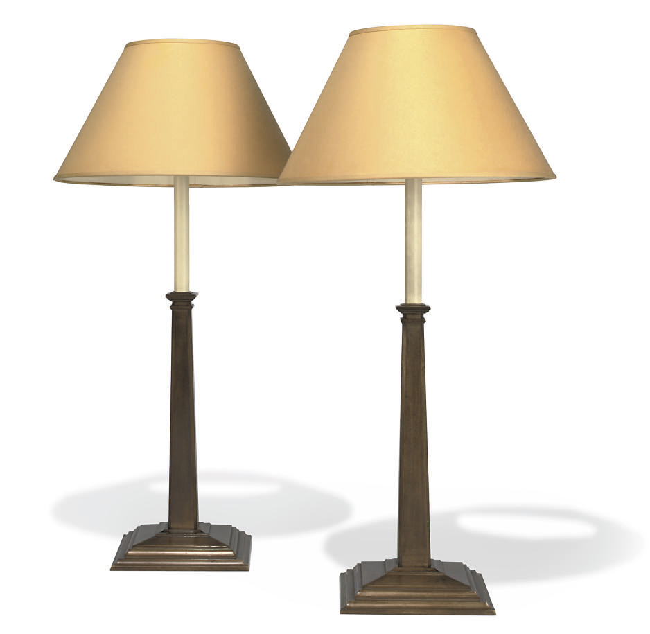 A PAIR OF BRUSHED COPPER COLUMN LAMPS