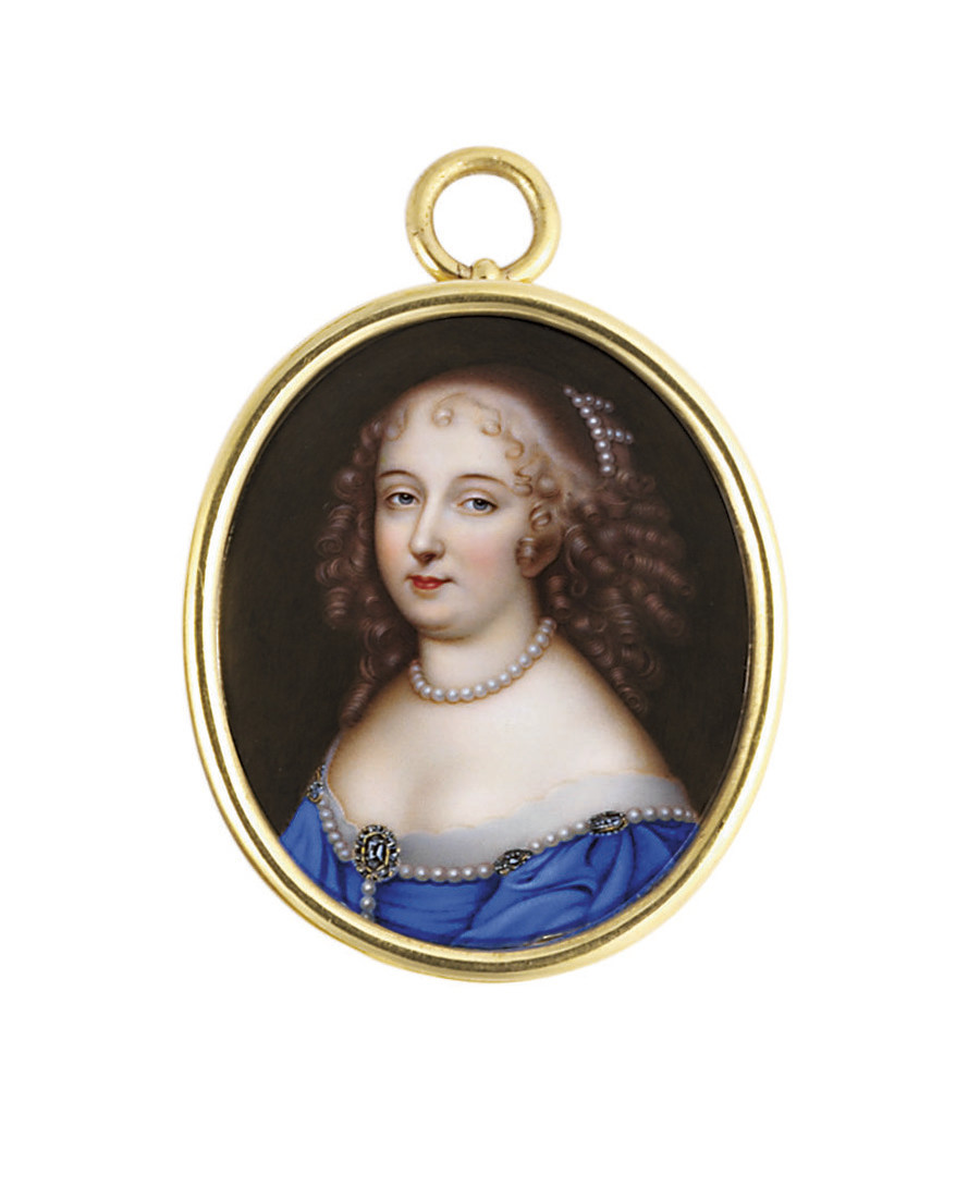 A young lady, in lace-bordered blue décolleté dress decorated with a strand of pearls fastened with gem-set brooches, pearl necklace, strands of pearls entwined in her brown hair dressed in ringlets