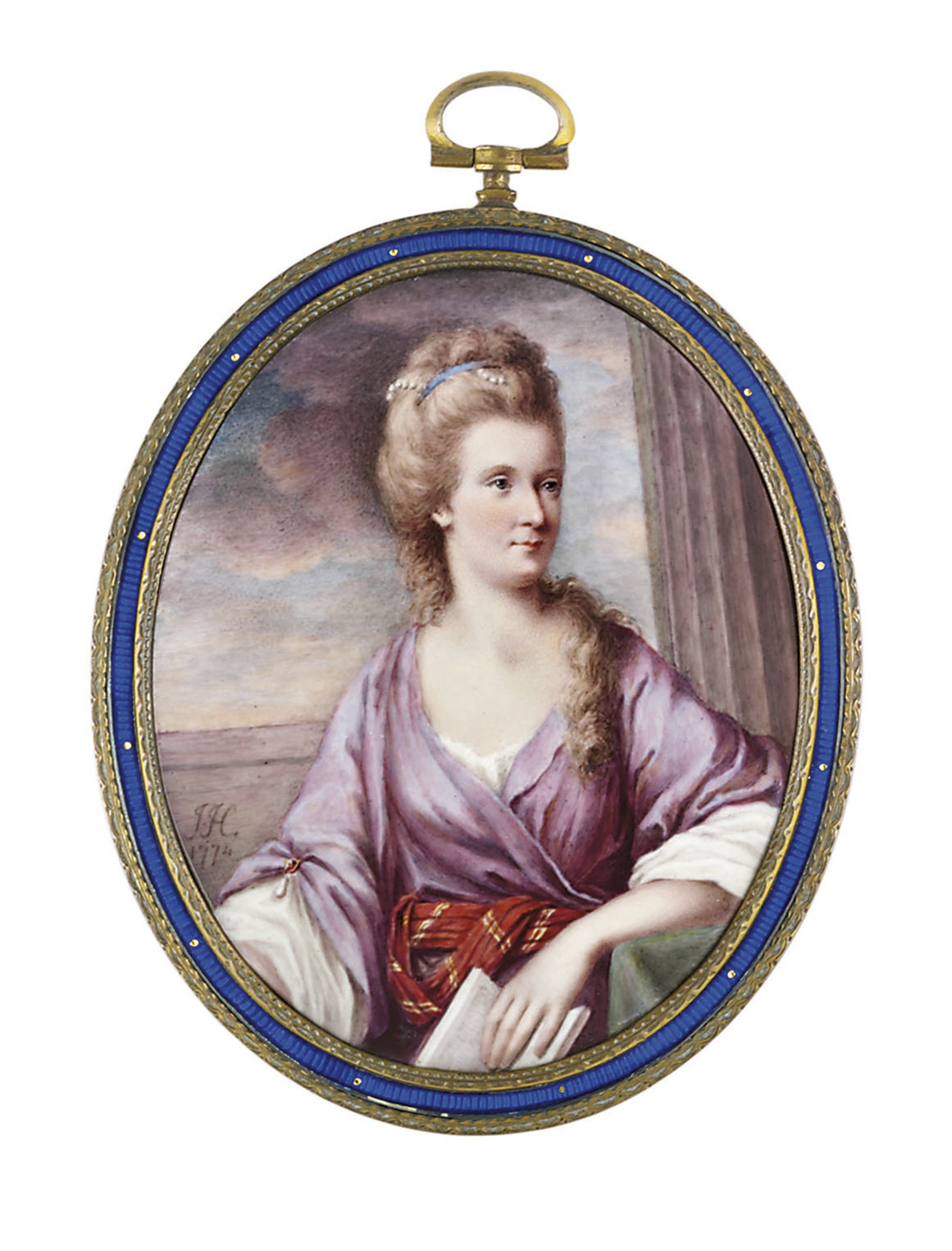 A lady called Lady Rushout, in puce open gown with ruby and pendant pearl brooch fastening her left sleeve, gold-striped crimson looped sash, white linen shift, pearls and blue ribbon adorning her upswept fair hair, an open book in her left hand; landscape and classicising background