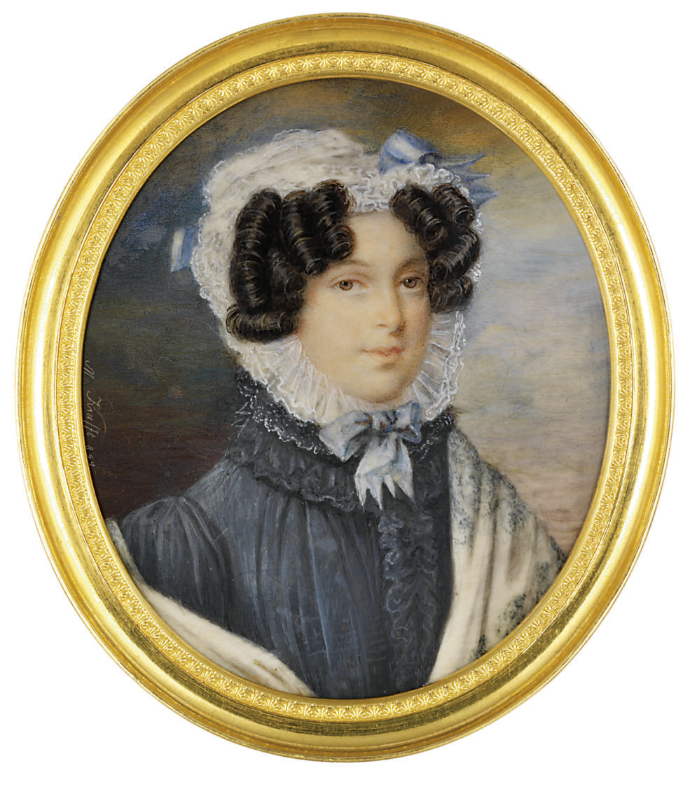 A young lady, in blue-grey dress with ruched placard and lace-frilled stand collar, blue embroidered Cashmere shawl, ruffled muslin bonnet secured with light blue ribbons, dark hair dressed in ringlets; sky background
