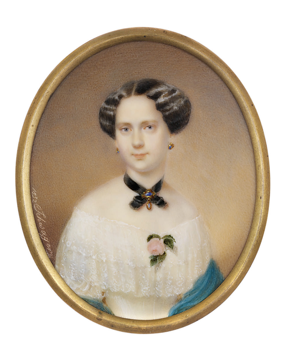 Freifrau von Hanstein, widowed Skotay [?], née Damböck, in off-the-shoulder white dress with tiered lace collar, pink rose at corsage, turquoise shawl, black choker set with brooch, gem-set earrings, dark upswept hair