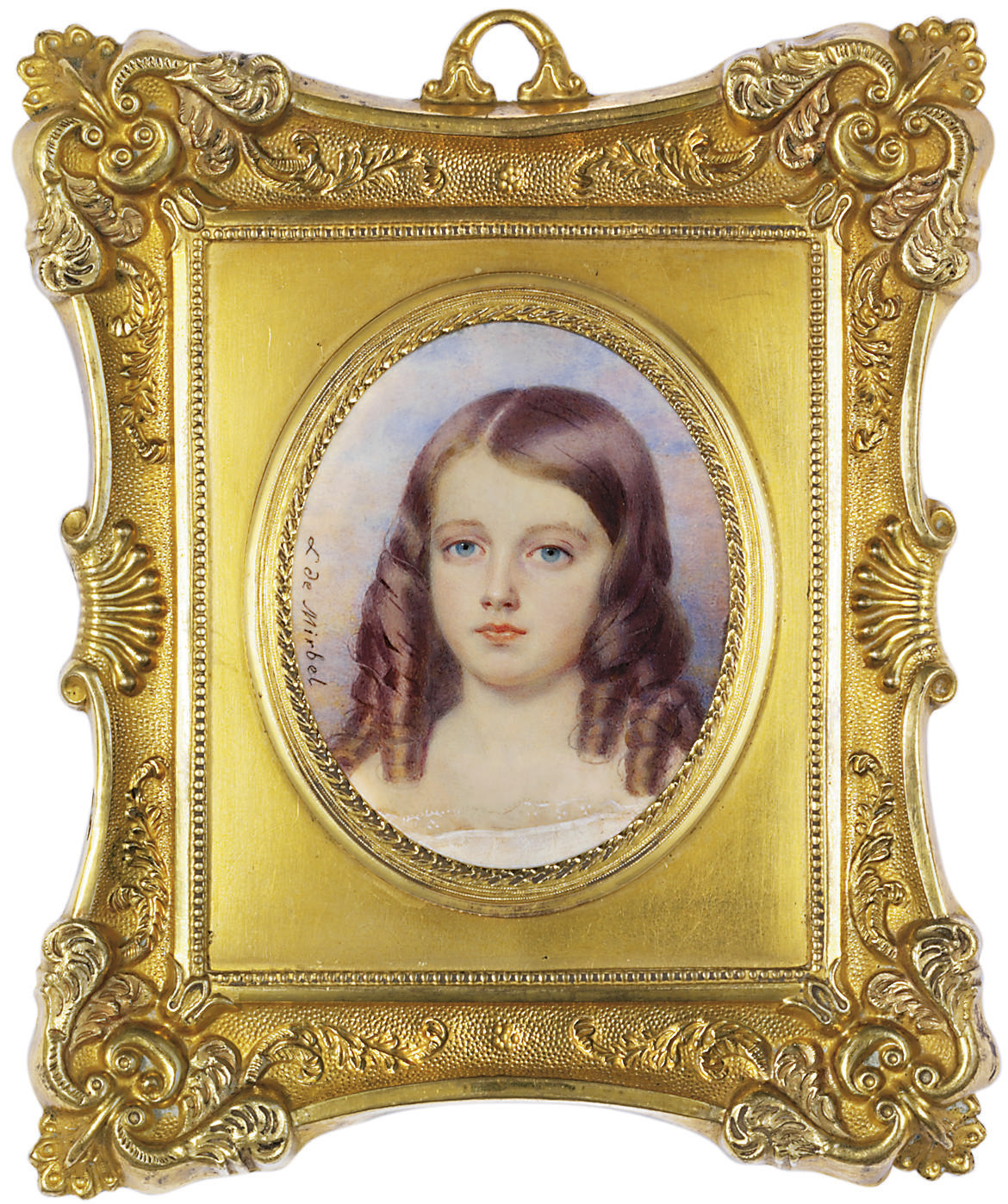 A young girl, in lace-bordered white muslin shift, her chestnut coloured hair dressed in ringlets; sunset background