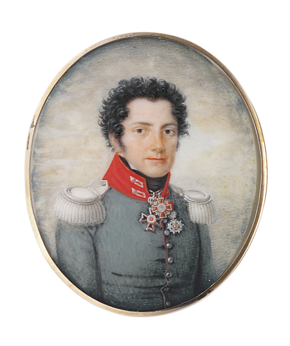 A young officer, in red-lined green coat with red collar, silver epaulettes, short curling dark hair, wearing the Commander cross (2nd class) of the Grand-Ducal Hessian Order of Louis (founded 1807), the Knight cross of the Imperial Russian Order of St. Anne (2nd class) and another order; sky background