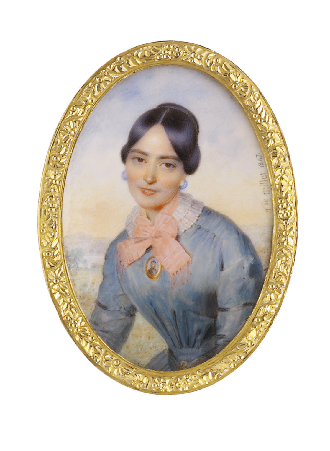 A young lady, in light blue coat, with white lace collar and pink ribbon bow, wearing a portrait miniature of a gentleman, blue hoop earrings, upswept brown hair; sky and landscape background