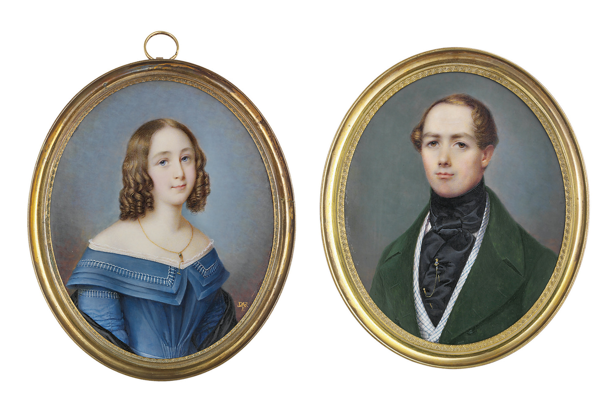 A pair of miniatures: a young lady, in slate blue décolleté dress with white embroidery decorating the ruched sleeves and double collar, white lace about the neckline, black satin stole, gem-set gold watch chain necklace, her chestnut hair dressed in ringlets; together with a young gentleman, in forest green coat, blue-checked waistcoat, black satin cravat, jewelled gold double tie pin, curling chestnut hair