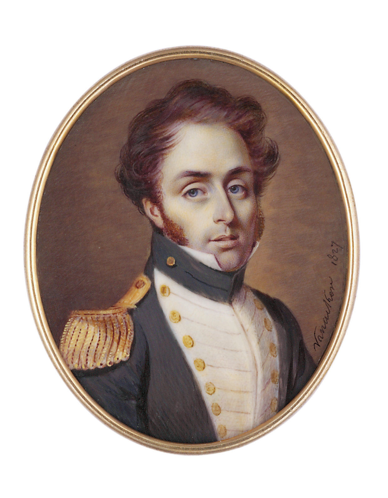 A young Naval Captain, in uniform with white facings, gold buttons and gold epaulette, auburn hair and sideburns