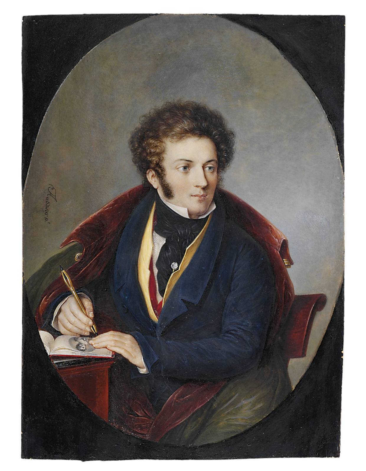 A young artist, seated at a desk, drawing a portrait of a young lady in a sketchbook, in blue coat, yellow waistcoat, white shirt, knotted black stock, gem-set tie-pin, a burgundy velvet-lined olive green coat draped over his shoulders