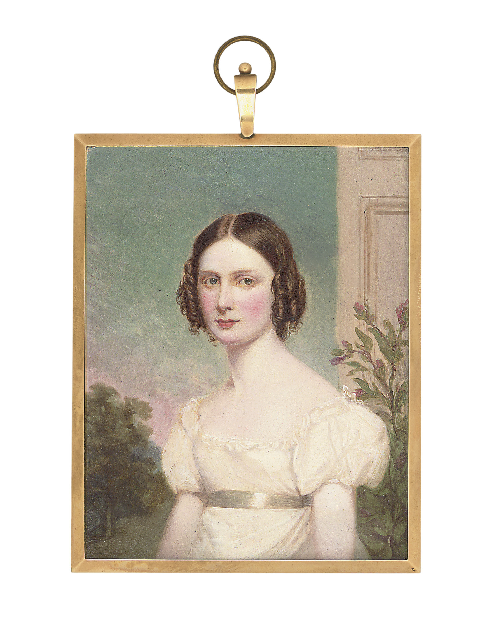 Lady John Chichester, in lace-bordered white dress with short puffed sleeves and sash, brown hair dressed in ringlets; landscape and pillar background