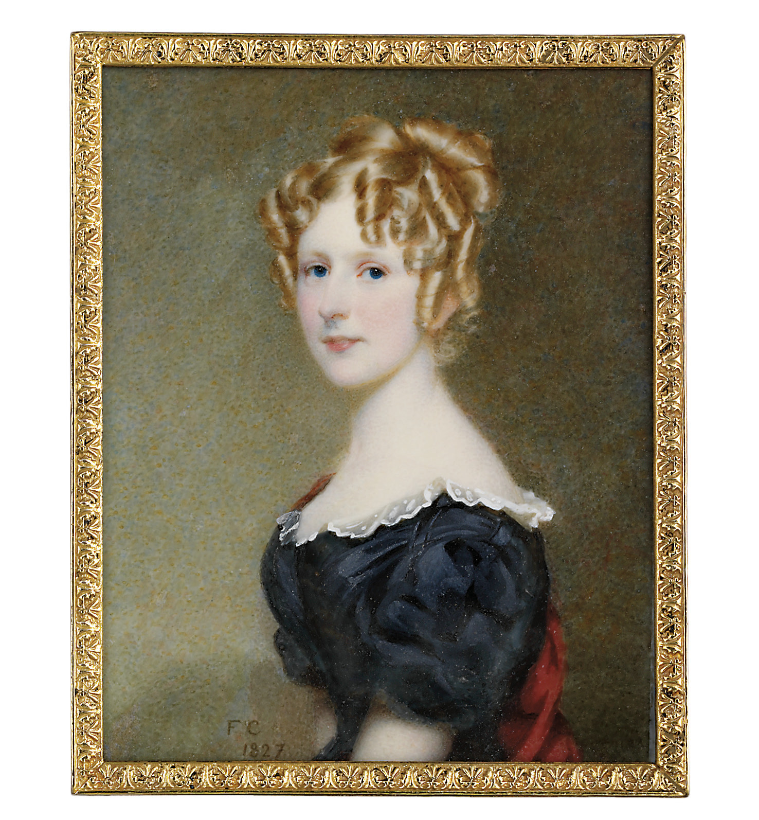 Charlotte Esther Lister (1808-1827) of Armitage Park, in black dress with white lace collar, seated on red stole, upswept curling fair hair
