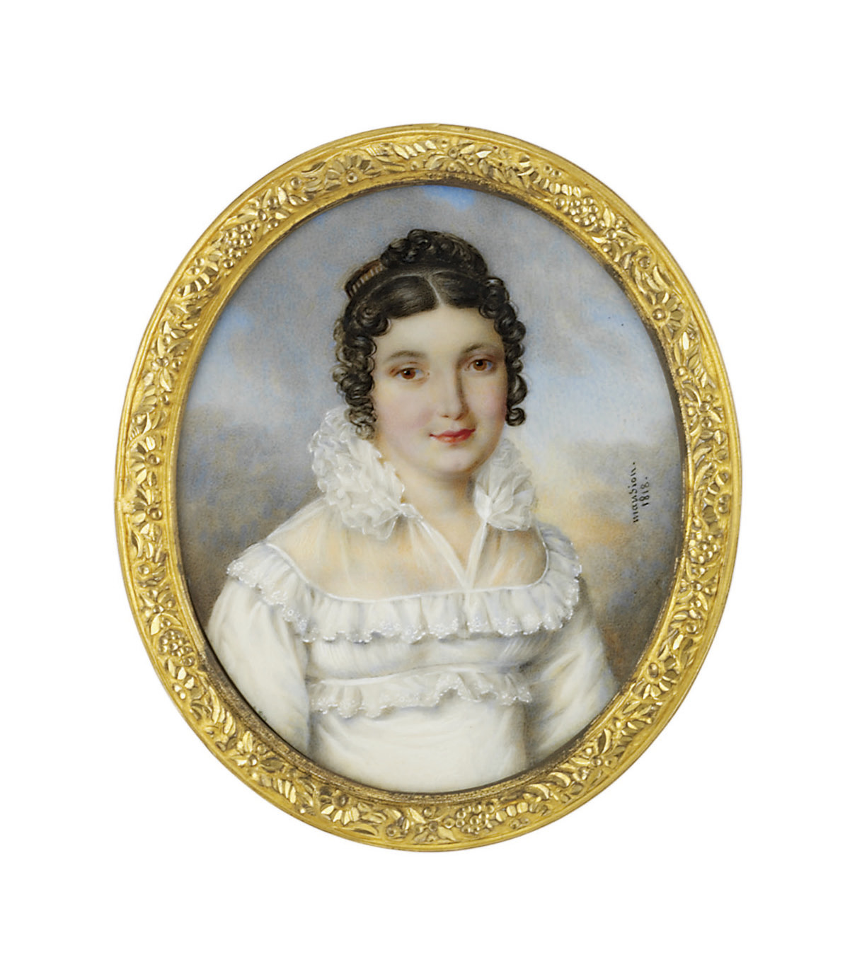 A young lady, in white mull evening gown with frills at the neckline and empire waist, white gauze collar with a Renaissance-inspired ruff; sky background