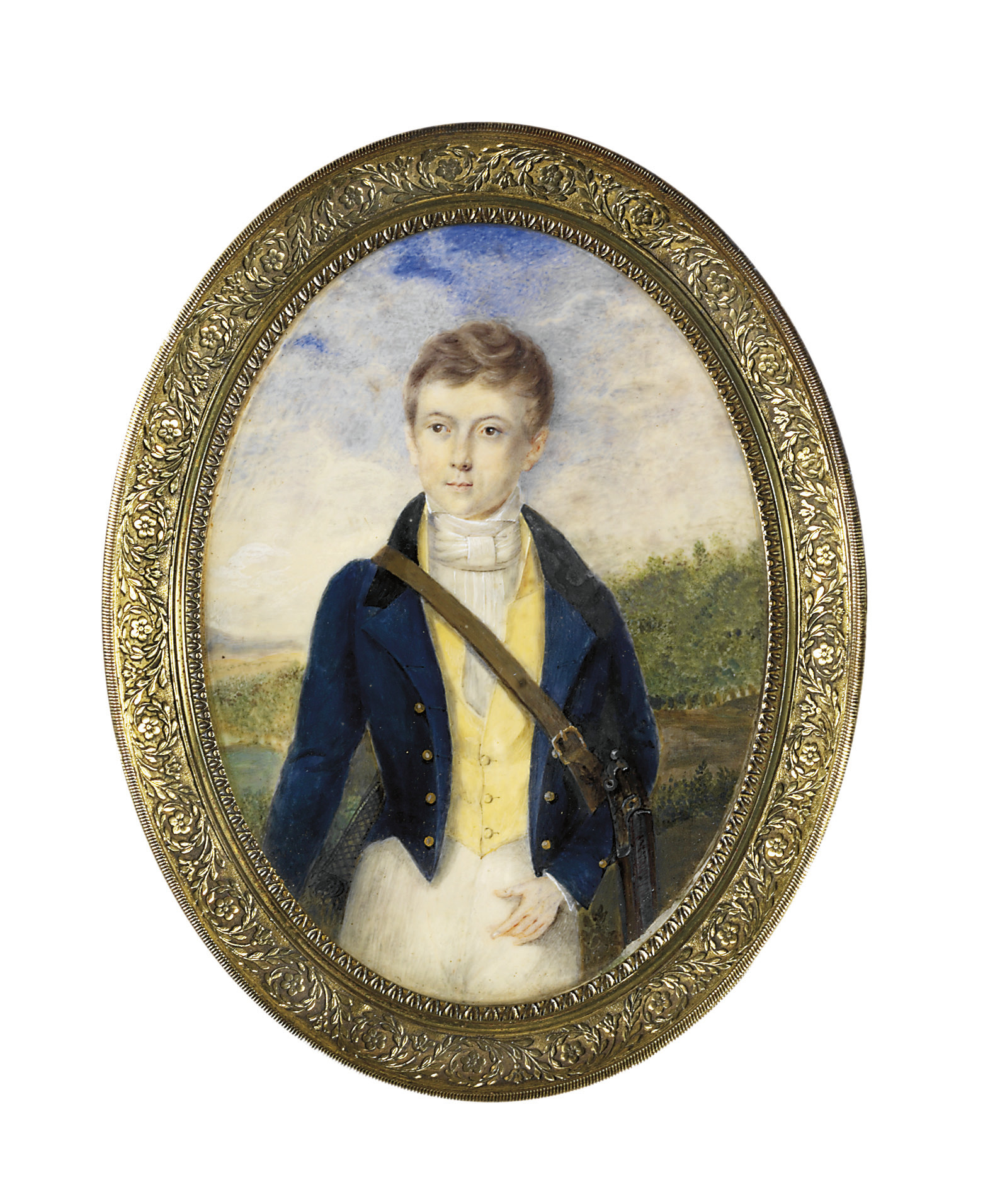 A boy, in blue coat with gold buttons, yellow waistcoat, white shirt and knotted cravat, a leather strap across his chest, a rifle under his left arm; landscape background