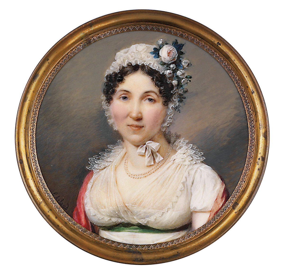 A lady, in white mull gown with embroidered gauze Van Dyck collar, green silk sash at waist, cerise Cashmere shawl over her shoulders, roses pinned to her white muslin cap, double-strand pearl necklace