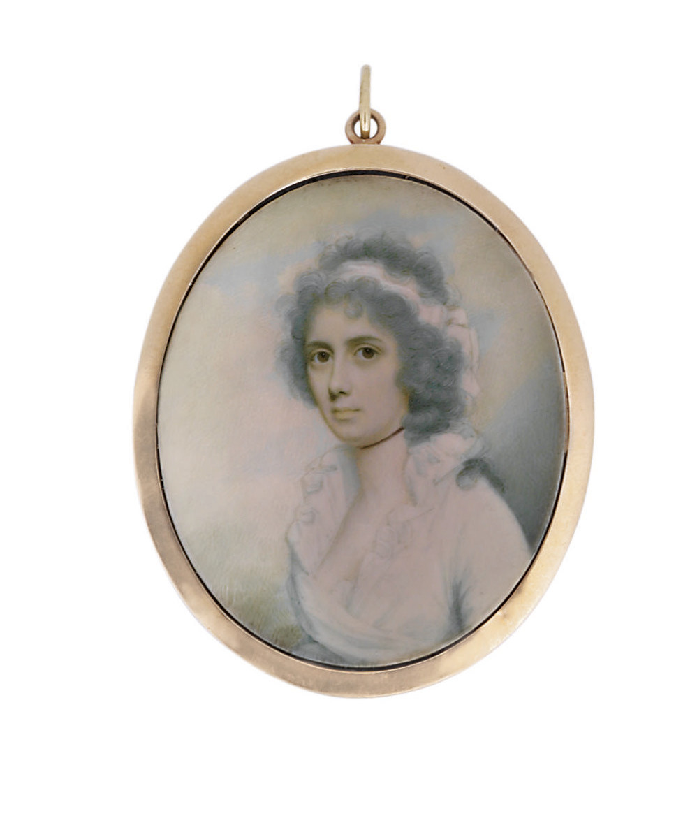 Mrs Ann Henry, in white dress with frilled collar, black choker, white scarf in her powdered hair falling in loose curls over her left shoulder; sky background