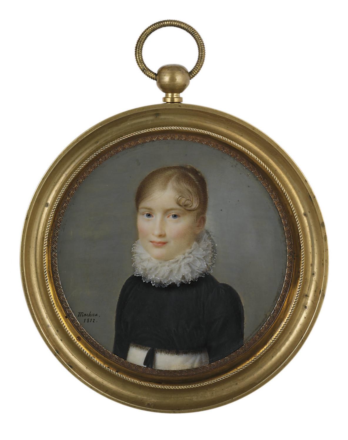 A young lady, in white dress, black fringed velvet spencer, white lace ruff, upswept fair hair