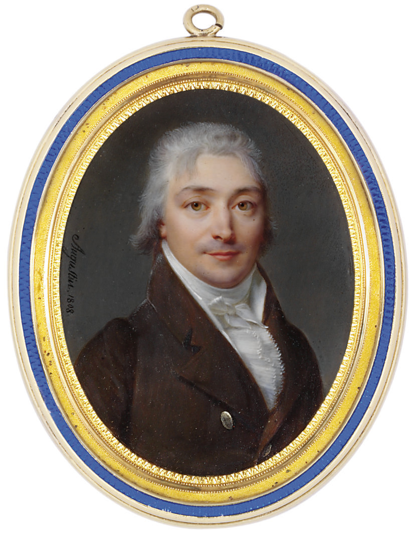 A young gentleman, in brown coat with silvered buttons, white waistcoat and white shirt with pleated cravat, powdered hair