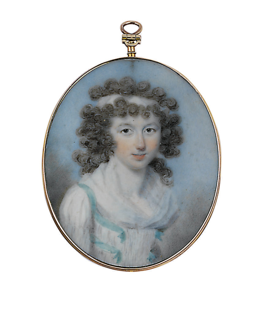 A young lady, in white linen chemise dress, white fichu, white bodice trimmed with teal-coloured ribbons, white ribbon in her curling dark hair; sky background