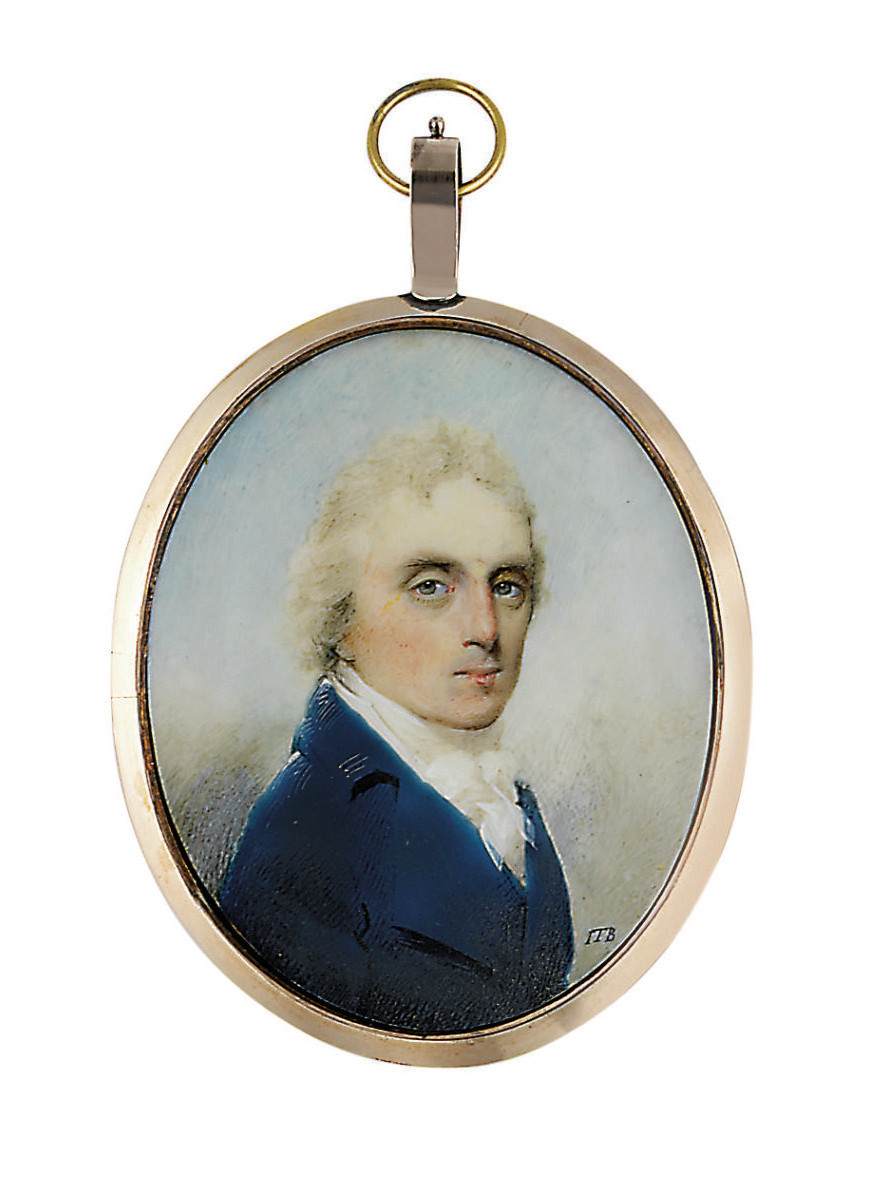 A gentleman, in blue coat, white waistcoat, white knotted cravat, powdered hair