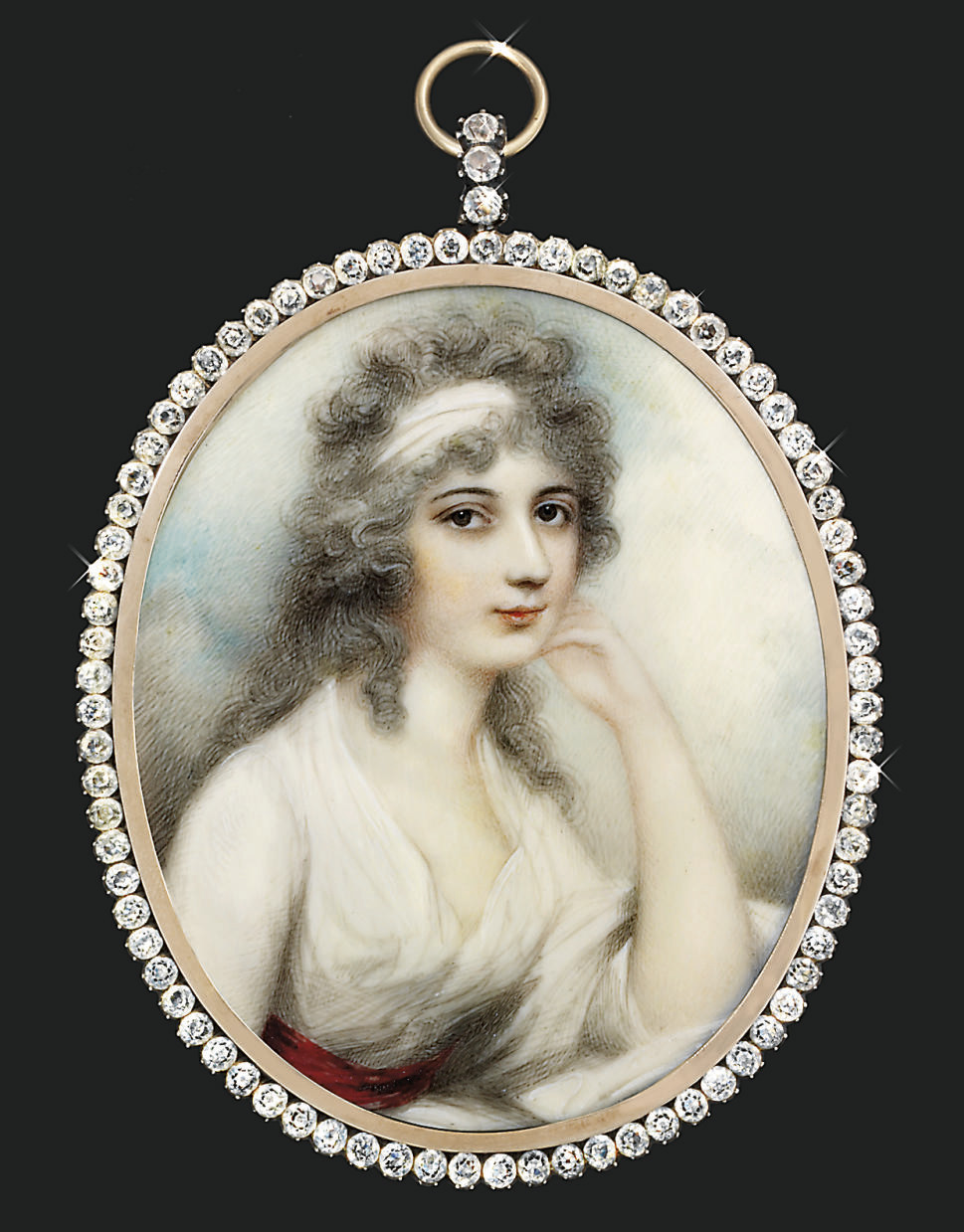 A young lady, in white muslin day dress, scarlet sash, her left elbow resting on a white cushion, white bandeau in her powdered curling hair; sky background