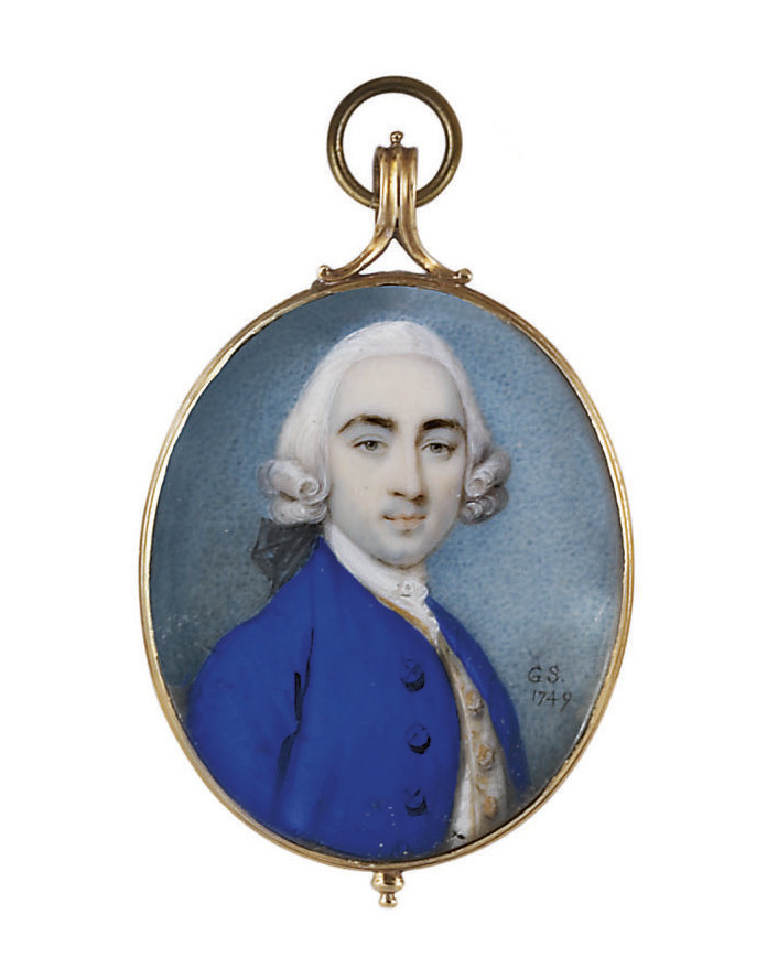 A young gentleman, in blue coat, gold-embroidered white waistcoat, white lace cravat, powdered wig en queue